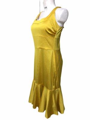 Damen Kleid gelb mit Leopard Futter Satin L