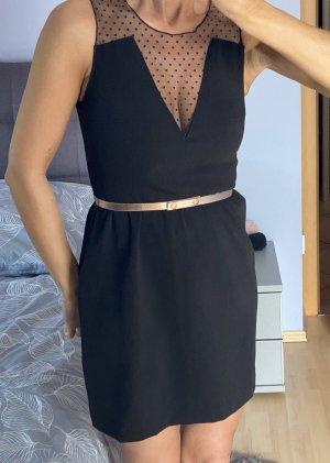 Damen Kleid Gr S 36 Schwarz Review mit Gürtel Neu mit Etikett