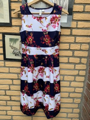 BODY FLIRT Midi-jurk wit-donkerblauw