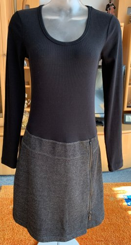 Sandwich Jersey Dress black-dark grey cotton