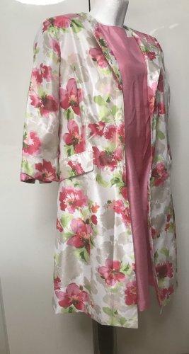 Damen Kleid + Mantel Blumen Weiß Rosa 42