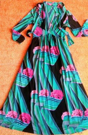 Damen Kleid Maxi schwingend geblümt Gr.36 in Bunt