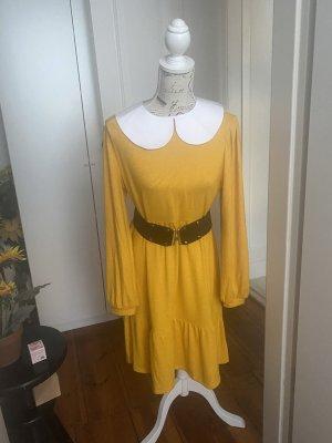 Damen Kleid mit abnehmbarem Kragen in senfgelb Gr. 40/42