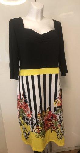 Damen Kleid Schwatz Gelb Blumen Neu M