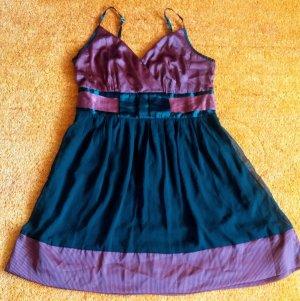 Damen Kleid Träger Satin Gr.42 gestreift von Bon Prix NW