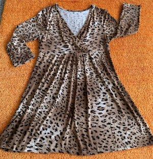 Damen Kleid Tunika Jersey Gr.S in Braun leo gemustert