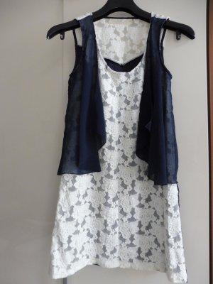 Anna Aura Jurk wit-donkerblauw Polyester
