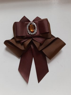 Brooch brown-cognac-coloured polyester