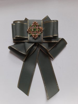 Brooch khaki-green grey polyester