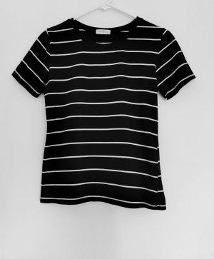 Damen kurzärmelig klassisch T-Shirt Schwarz-weiß gestreift Gr.S 36
