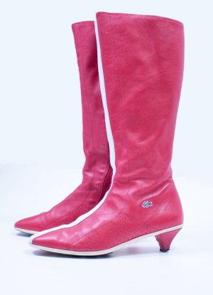 Damen Lacoste Stiefel 37 HOLLY 45L rot weiss made in ITALY Echt Leder