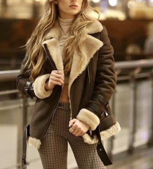 Giacca in pelliccia marrone chiaro