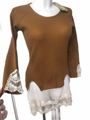 Damen langarm Shirt / Top mit Spitze Bronze Braun Weiß M