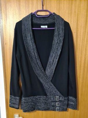 Damen Langarm Strickpullover Pullover mit Schnallen schwarz 40/42