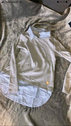 Aiki Lang shirt lichtgrijs-lichtblauw