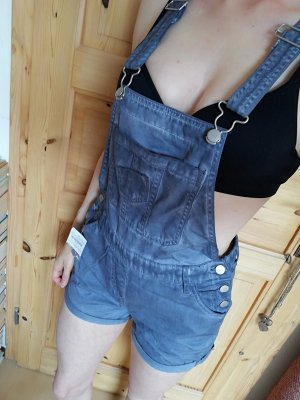 Damen Latzhose gr 36 s grau blau Jumpsuit Jeans overall arbeits Hose kurz latzshorts shorts