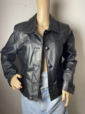 damen leder jacke schwarz blazer gr 40 gebraucht vintage