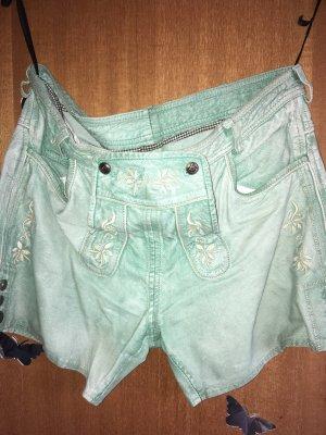 Pantalon traditionnel en cuir vert clair-gris vert