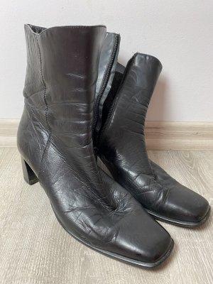 Damen Leder Stiefeletten schwarz mit Absatz gr 38