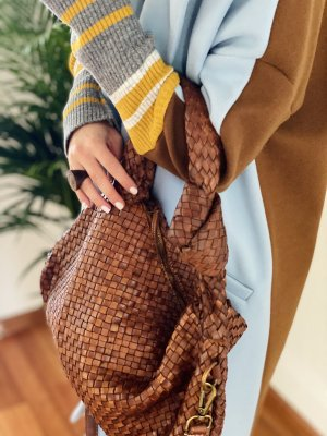 Damen Leder Vintage Umhängetasche braun Slingtasche geflochten TOP