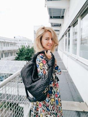 Damen Leder Vintage Umhängetasche schwarz Slingtasche geflochten TOP