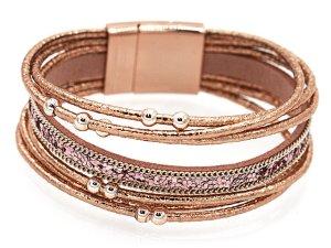 Damen Lederarmband Schmuck Armband Armkette Wickelarmband - bronze rose 20 cm