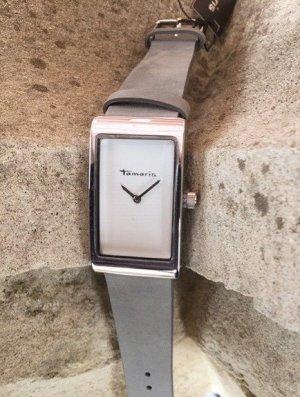 Tamaris Horloge met lederen riempje zilver-lichtgrijs Metaal