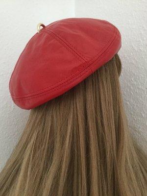 Damen Lederbaske Leder Beret in rot Gr.57/58