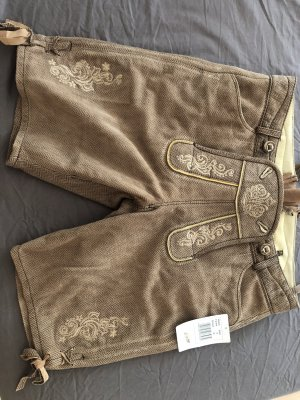 Krüger Dirndl Pantalon traditionnel en cuir marron clair-brun