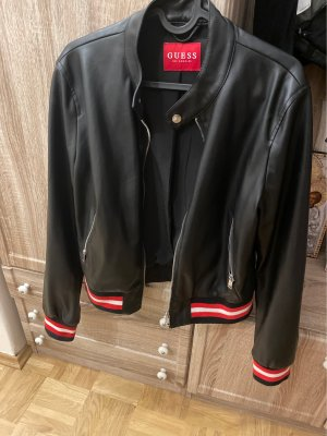 Guess Giacca in pelle nero-rosso scuro