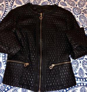 0039 Italy Veste en cuir noir-doré