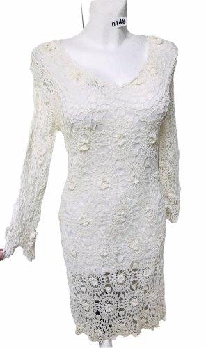 Damen Loch Spitze Kleid Weiß M