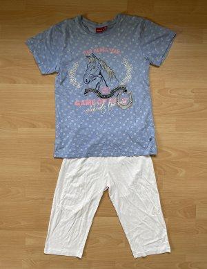 Manguun Pyjama white-steel blue