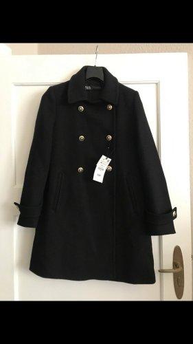 Zara Marynarski płaszcz ciemnoniebieski