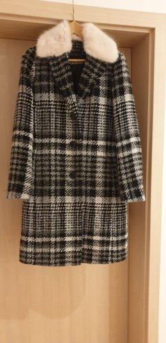 Damen Mantel mit Wollanteil und  abknöpfbarer Fellimitatkragen