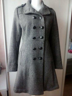 Damen Mantel schwarz weiß elegant Wolle 34-36 Pepita
