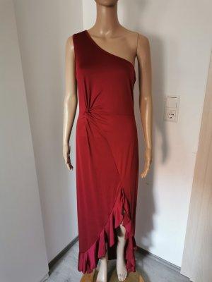 Vestido de un hombro rojo oscuro