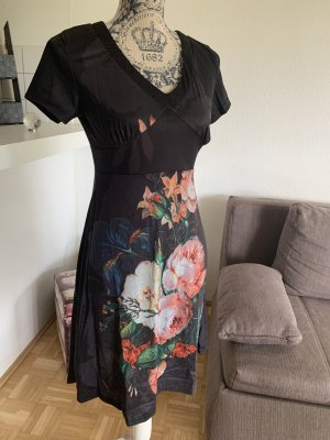 Damen Midi-Kleid - Tunika - Größe S 34/36 - Black/Color - Flower