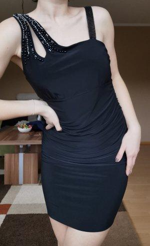 Damen Minikleid Cocktailkleid Glitzer schwarz off-shoulder