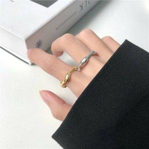 Damen Minimalistischer Geometrischer Kreise Ring silber vergoldet Diameter 17mm