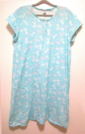 Damen Nachthemd Gr. 50 hübsches Türkis oder Hellblau mit Druck - Baumwolle