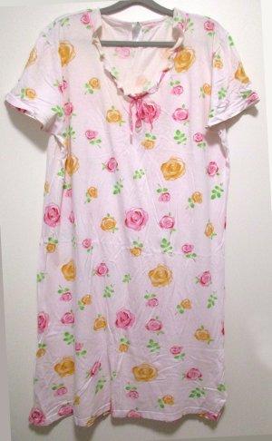 Damen Nachthemd Kurzarm hell mit Rosenmuster Rosenblüten Rosen Gr. 48/50