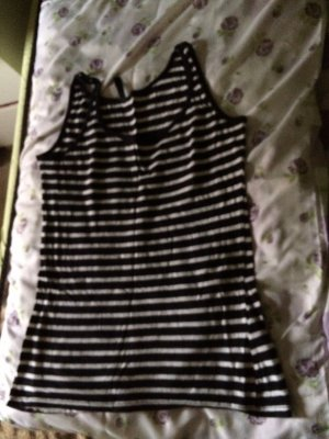 24 colours Débardeur à bretelles noir-blanc