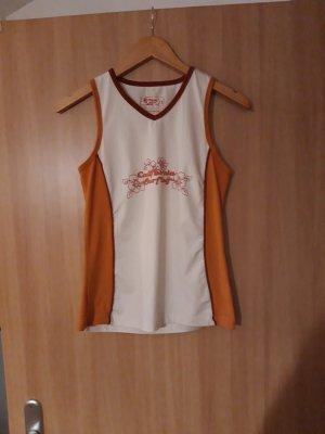 Damen Oberteil Shirt schulterfrei orange weiß TCM Größe S