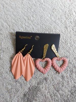 Damen Ohrringe Ohrhänger in Rosa-Gold