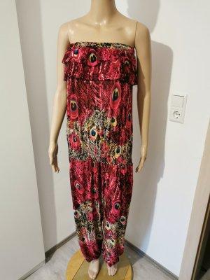Damen Overall Jumpsuit Playsuit Pfauenfedern Größe XL/XXL