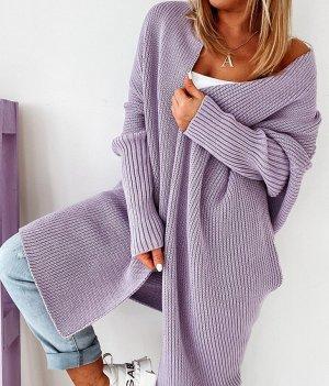 Cappotto a maglia malva-grigio-lilla