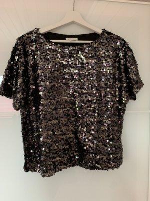 Damen Pailletten Shirt Gr. S Schwarz Silber