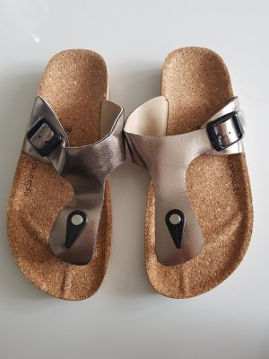 Sandały japonki z rzemykami złoto-szary