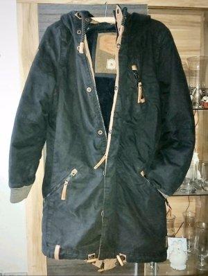 Naketano Cappotto con cappuccio blu scuro-marrone chiaro